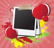 Valentine's day card with hearts, instant photos Stock Photography