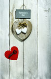 Valentine`s Day card with hearts on old wooden background Stock Photo