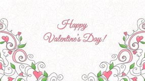 Valentine's Day card with hearts ornament Stock Photos