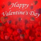 Valentine's day card with hearts on a red background Stock Photography
