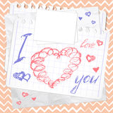 Valentine's Day card; Hearts Sketchy Doodles Royalty Free Stock Photography