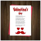 Valentine\'s day card with hearts wooden background. For web design and application interface, also useful for infographics. Vector illustration Royalty Free Stock Image