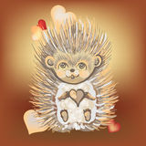 Valentine's Day card with a hedgehog.1 Stock Photography