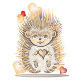 Valentine's Day card with a hedgehog. Royalty Free Stock Image