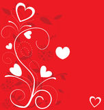Valentine`s Day card illustration on red Stock Images