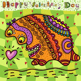 Valentine's Day card with the incredible animal. That found heart and very happy with it Royalty Free Stock Photos