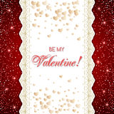Valentine's day card. With lace borders. Be my Valentine text message.  Vector illustration Royalty Free Stock Photos