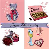 Valentine`s day card with lettering and doodles royalty free illustration