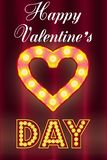 Valentine`s Day card, with light bulbs royalty free illustration