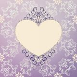 Valentine's day card on lilac vintage pattern Royalty Free Stock Photo