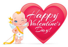Valentine's day card with little baby Cupid Stock Photos