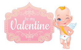 Valentine's day card with little baby Cupid Stock Photo