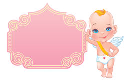 Valentine's day card with little baby Cupid Stock Photography