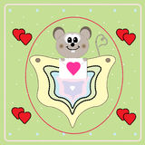 Valentine's Day card with little mouse Stock Photography