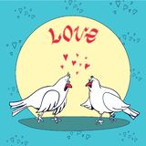 Valentine`s Day card. Love and pigeons stock illustration