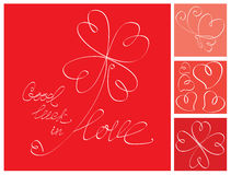Valentine`s Day card with lucky heart Clover. Valentine`s Day postcard with lucky heart Clover Royalty Free Stock Images