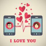 Valentine's day card with man and woman avatars on smartphone displays in flat style Royalty Free Stock Photography