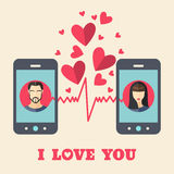 Valentine's day card with man and woman avatars on smartphone displays in flat style Stock Photo