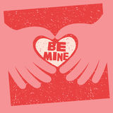 Valentine's Day Card with message Be Mine Stock Images