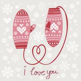 Valentine`s day card with mittens Stock Photography