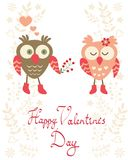 Valentine`s day card with owls. Couple Royalty Free Stock Photos