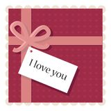 Valentine's day card with a paper note Royalty Free Stock Photography