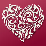 Valentine's day card. Pattern in the form of heart. Floral heart. Tracery heart. Stock Photo