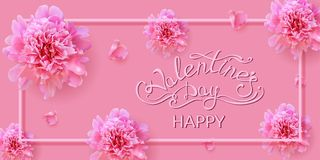 Valentine`s day card with peony flowers royalty free stock photography
