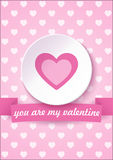 Valentine's day card on a pink background with You are My Valentine text. Vector illustration.  Royalty Free Stock Photo