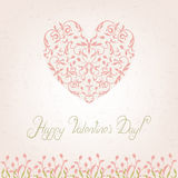 Valentines Day Card. With pink floral ornament heart Stock Photos