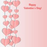 Valentine's Day card with pink garlands of hearts. Stock Photo