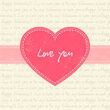 Valentine's day card with pink heart. And ribbon Royalty Free Stock Image