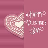 Valentine`s day card with pink heart cookie. Valentine`s day love card with pink heart cookie vector illustration