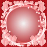 Valentine's Day card with pink hearts. Royalty Free Stock Images
