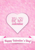 Valentine's day card on a pink mosaic background with Happy Valentine's Day text. Vector illustration Stock Image