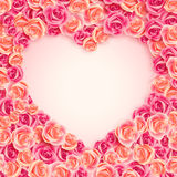 Valentine`s Day card on pink roses Stock Photography