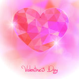 Valentine's Day card with precious heart  on light effect background Royalty Free Stock Photo