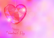 Valentine's Day card with precious heart  on light effect background. Royalty Free Stock Image
