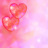 Valentine's Day card with precious heart  on light effect background. Royalty Free Stock Images