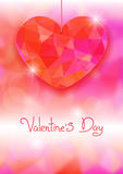 Valentine's Day card with precious heart  on light effect background. Stock Photography