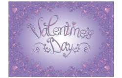 Valentine's day card with purple background Royalty Free Stock Image