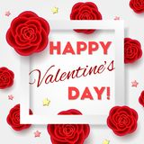 Valentine`s day card with realistic flowers. Happy Valentine`s day card with realistic flowers. 3d effect5, red roses and golden stars with white frame. Romantic Stock Photos