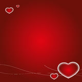 Valentine's Day Card. Red Valentine's Day card background with Hearts Royalty Free Stock Images