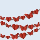 Valentine's Day card with red garlands of hearts and butterflies. Stock Photos