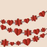 Valentine's Day card with red garlands of hearts and flowers. Royalty Free Stock Images