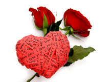 Valentine's day card - red heart end roses Stock Photography