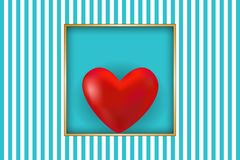 Valentine`s day card. Red heart and golden frame with space for text. Vector illustration EPS10 for Valentines Day card, poster of flyer Royalty Free Stock Photography