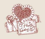 Valentines day. Card with red heart and rose Stock Photos