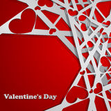 Valentine's day card. Red Valentine's day card with heart shapes Stock Image