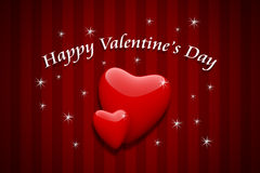 Valentine's day card with red hearts Stock Photos